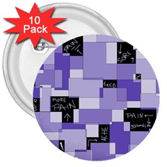 Purple Pain Modular 3  Button (10 Pack) by FunWithFibro