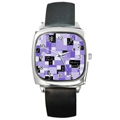 Purple Pain Modular Square Leather Watch by FunWithFibro