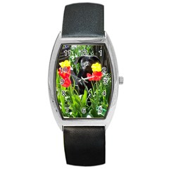 Black Gsd Pup Tonneau Leather Watch by StuffOrSomething