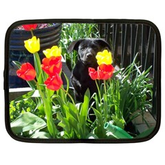 Black Gsd Pup Netbook Sleeve (xxl) by StuffOrSomething