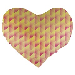 Geometric Pink & Yellow  19  Premium Heart Shape Cushion by Zandiepants