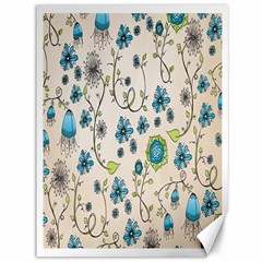 Whimsical Flowers Blue Canvas 36  X 48  (unframed) by Zandiepants