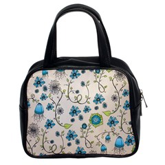 Whimsical Flowers Blue Classic Handbag (two Sides) by Zandiepants