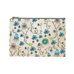Whimsical Flowers Blue Cosmetic Bag (large) by Zandiepants