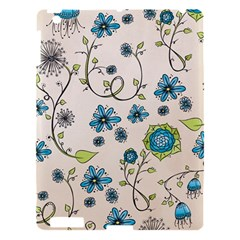 Whimsical Flowers Blue Apple Ipad 3/4 Hardshell Case by Zandiepants