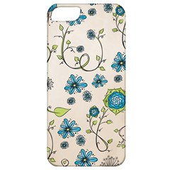 Whimsical Flowers Blue Apple Iphone 5 Classic Hardshell Case by Zandiepants