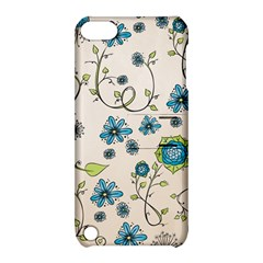 Whimsical Flowers Blue Apple Ipod Touch 5 Hardshell Case With Stand by Zandiepants