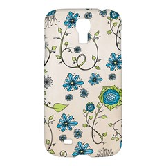 Whimsical Flowers Blue Samsung Galaxy S4 I9500/i9505 Hardshell Case by Zandiepants