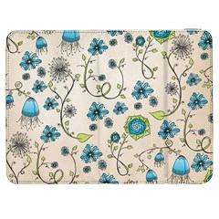 Whimsical Flowers Blue Samsung Galaxy Tab 7  P1000 Flip Case by Zandiepants