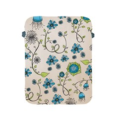 Whimsical Flowers Blue Apple Ipad Protective Sleeve by Zandiepants