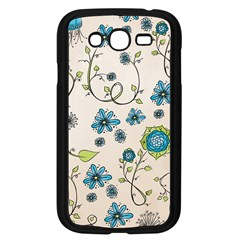 Whimsical Flowers Blue Samsung Galaxy Grand Duos I9082 Case (black) by Zandiepants