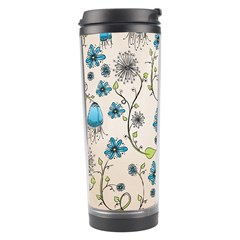 Whimsical Flowers Blue Travel Tumbler by Zandiepants