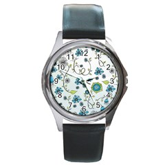 Blue Whimsical Flowers  On Blue Round Leather Watch (silver Rim) by Zandiepants