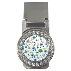 Blue Whimsical Flowers  On Blue Money Clip (cz) by Zandiepants