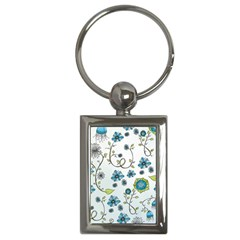 Blue Whimsical Flowers  On Blue Key Chain (rectangle) by Zandiepants
