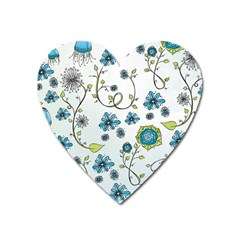 Blue Whimsical Flowers  On Blue Magnet (heart) by Zandiepants