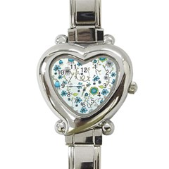 Blue Whimsical Flowers  On Blue Heart Italian Charm Watch  by Zandiepants