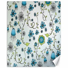 Blue Whimsical Flowers  On Blue Canvas 16  X 20  (unframed) by Zandiepants