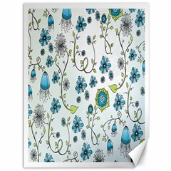 Blue Whimsical Flowers  On Blue Canvas 36  X 48  (unframed) by Zandiepants