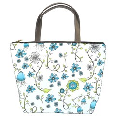 Blue Whimsical Flowers  On Blue Bucket Handbag by Zandiepants