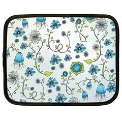 Blue Whimsical Flowers  On Blue Netbook Sleeve (xxl) by Zandiepants
