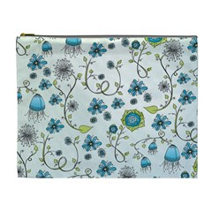 Blue Whimsical Flowers  On Blue Cosmetic Bag (xl) by Zandiepants