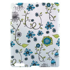 Blue Whimsical Flowers  On Blue Apple Ipad 3/4 Hardshell Case by Zandiepants