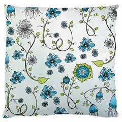 Blue Whimsical Flowers  On Blue Large Cushion Case (single Sided)  by Zandiepants