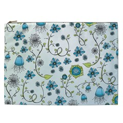 Blue Whimsical Flowers  On Blue Cosmetic Bag (xxl) by Zandiepants