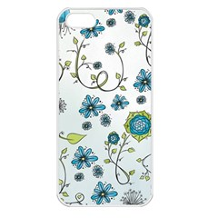 Blue Whimsical Flowers  On Blue Apple Iphone 5 Seamless Case (white) by Zandiepants
