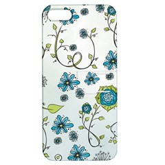 Blue Whimsical Flowers  On Blue Apple Iphone 5 Hardshell Case With Stand by Zandiepants