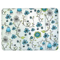 Blue Whimsical Flowers  On Blue Samsung Galaxy Tab 7  P1000 Flip Case by Zandiepants