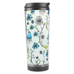 Blue Whimsical Flowers  On Blue Travel Tumbler by Zandiepants