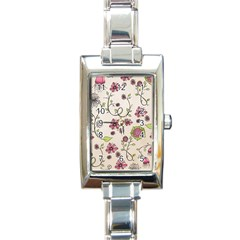 Pink Whimsical Flowers On Beige Rectangular Italian Charm Watch by Zandiepants