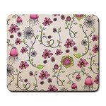 Pink Whimsical flowers on beige Large Mouse Pad (Rectangle) Front