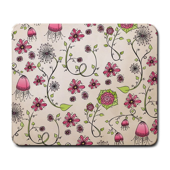 Pink Whimsical flowers on beige Large Mouse Pad (Rectangle)