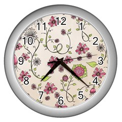 Pink Whimsical Flowers On Beige Wall Clock (silver) by Zandiepants