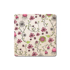 Pink Whimsical Flowers On Beige Magnet (square) by Zandiepants