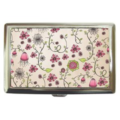 Pink Whimsical Flowers On Beige Cigarette Money Case by Zandiepants