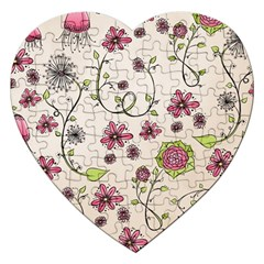 Pink Whimsical Flowers On Beige Jigsaw Puzzle (heart) by Zandiepants