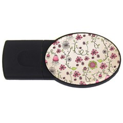 Pink Whimsical Flowers On Beige 4gb Usb Flash Drive (oval) by Zandiepants