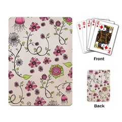 Pink Whimsical Flowers On Beige Playing Cards Single Design by Zandiepants