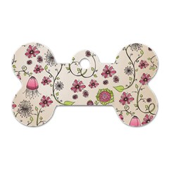 Pink Whimsical Flowers On Beige Dog Tag Bone (two Sided) by Zandiepants