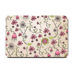Pink Whimsical Flowers On Beige Small Door Mat by Zandiepants