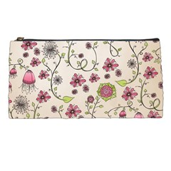 Pink Whimsical Flowers On Beige Pencil Case by Zandiepants