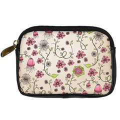 Pink Whimsical Flowers On Beige Digital Camera Leather Case by Zandiepants