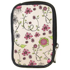 Pink Whimsical Flowers On Beige Compact Camera Leather Case by Zandiepants