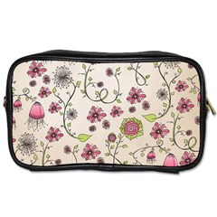 Pink Whimsical Flowers On Beige Travel Toiletry Bag (one Side) by Zandiepants