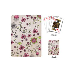 Pink Whimsical Flowers On Beige Playing Cards (mini) by Zandiepants