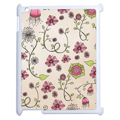 Pink Whimsical Flowers On Beige Apple Ipad 2 Case (white) by Zandiepants